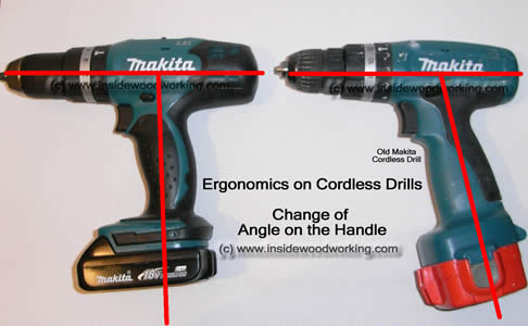 change in angle of an ergonomic cordless drill and other power tools shows how tools are now designed better.
